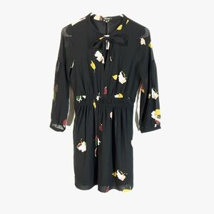 Madewell Painted Floral Tie-Neck Dress